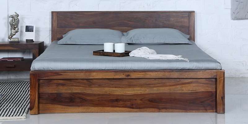 Acropolis Queen Bed with Storage in Provincial Teak Finish by Woodsworth