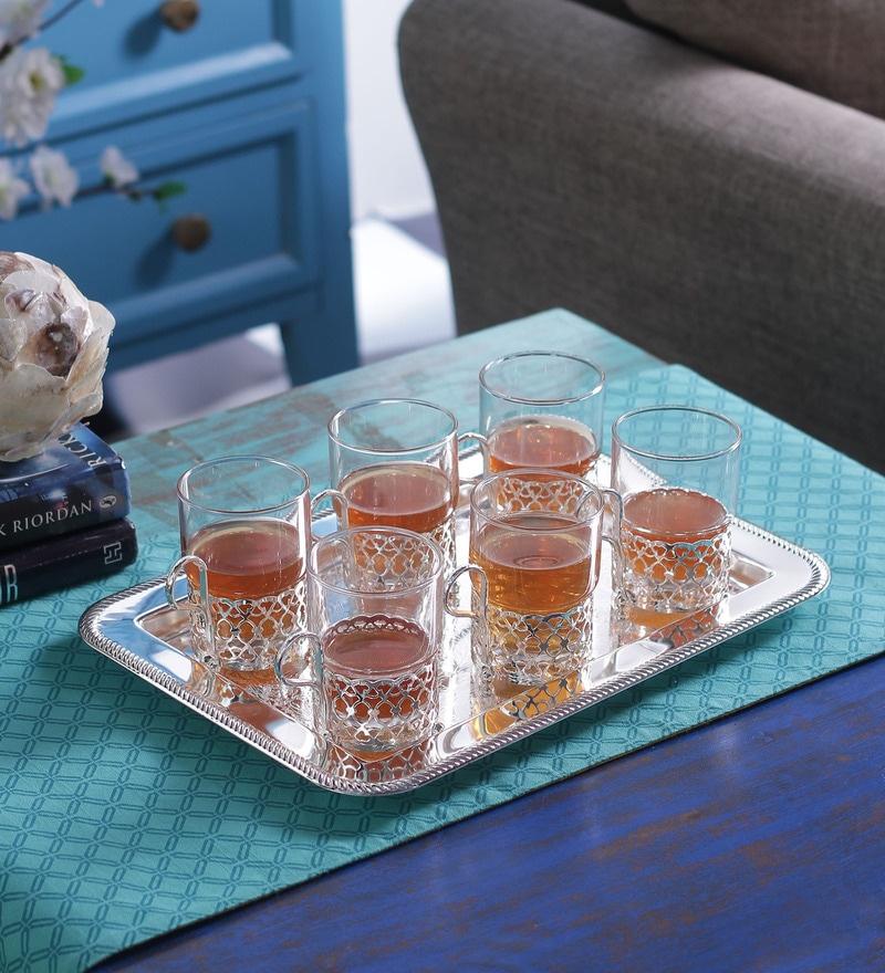 Buy Queen Anne Oblong Serving Tray Online Metalware  : queen anne glass serving tray set of 7 queen anne glass serving tray set of 7 6tq2fj from www.pepperfry.com size 800 x 880 jpeg 180kB