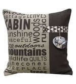 Beige and White Cotton 16 x 16 Inch Printed Cushion Cover
