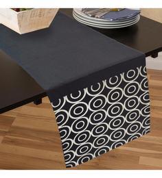 R Home Foil Printed Black Cotton Table Runner