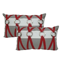 R Home Multicolour Cotton 12 X 20 Inch Designer Cushion Covers - Set Of 2