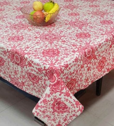 R Home Printed Cotton Table Cover, Red, 150 X 225 CM