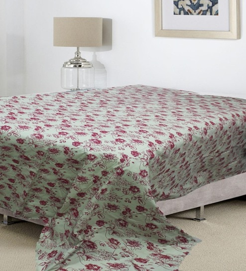 Beige Cotton 90 X 106 Inch Roses Double Bed Duvet Cover By R Home