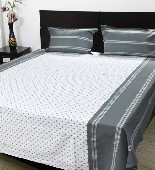 Buy R Home Grey Cotton Queen Size Bed Sheet Set of 3 Online