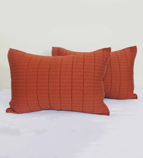 Buy R Home Rust Cotton 40 X 40 Inch Quilted Pillow Cover Set 40 Pc Delectable 27 Inch Pillow Covers
