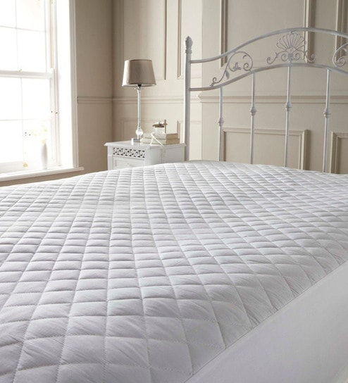 Buy White Cotton 72 x 72 Queen Mattress Protector by R Home Online ...