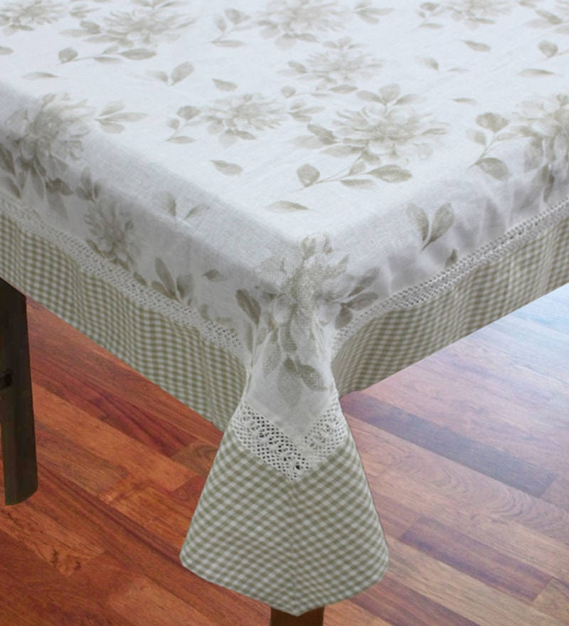R Home Beige Cotton & Linen Table Cover