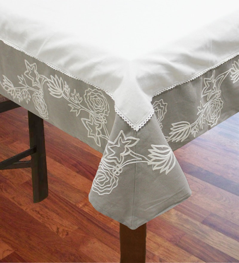 R Home Beige Cotton Table Cover ( Model No: RHTL 83S )