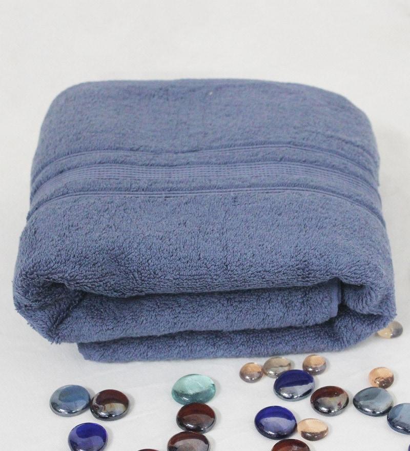 R Home Blue Terry Cotton 30 x 55 Bath Towel