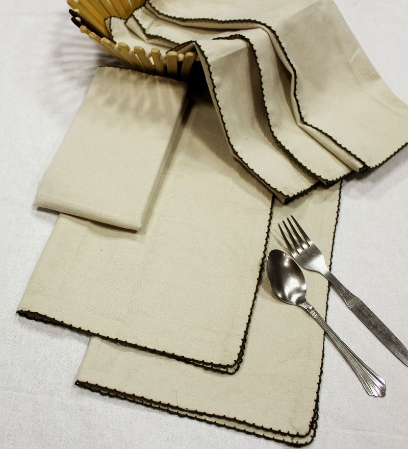 R Home Embroidered Border Beige Cotton Table Napkin - Set of 6