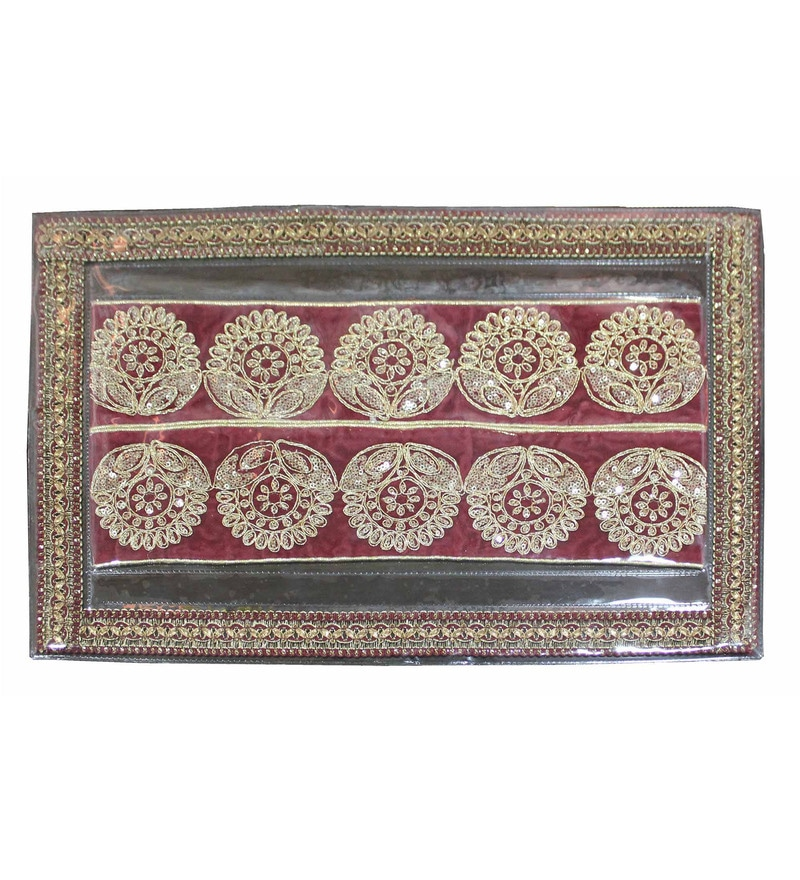 R Home Ethnic Embroidered Maroon Plastic Placemats - Set of 6