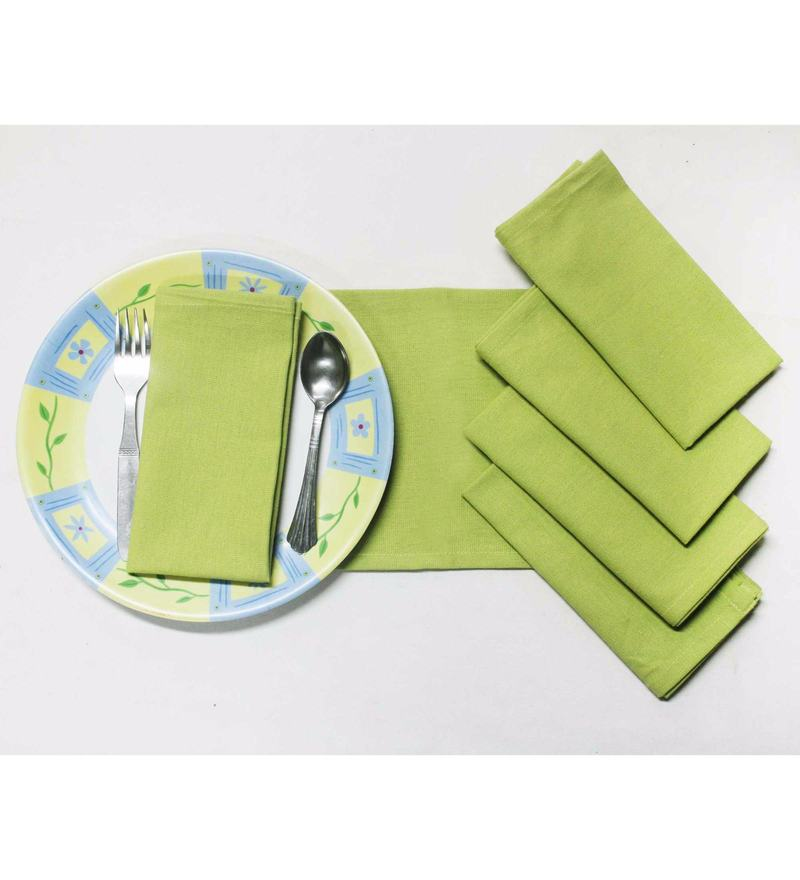 R Home Green Cotton Table Napkins - Set of 6