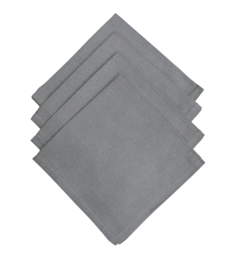 R Home Grey Cotton Table Napkin - Set of 6