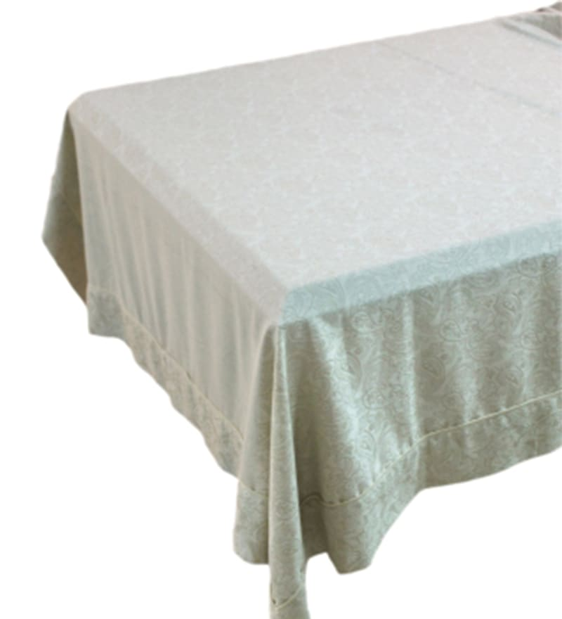 R Home Ideal Grey Linen Jacquard Table Cover