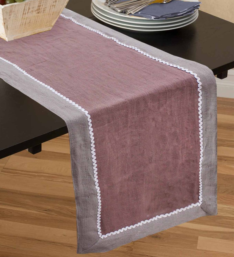 R Home Linen Stonewash Multicolour Linen Table Runner
