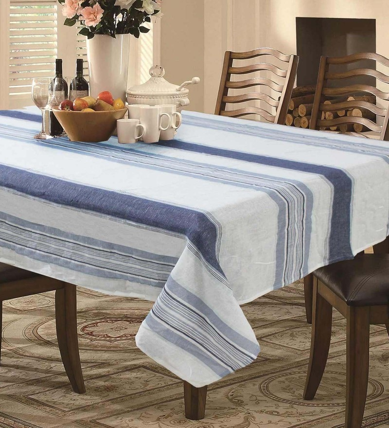 R Home Linen Stripe Blue Linen Table Cloth