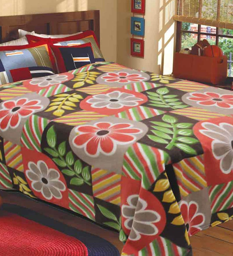 R Home Multicolour Fleece 83 x 87 Inch Blanket