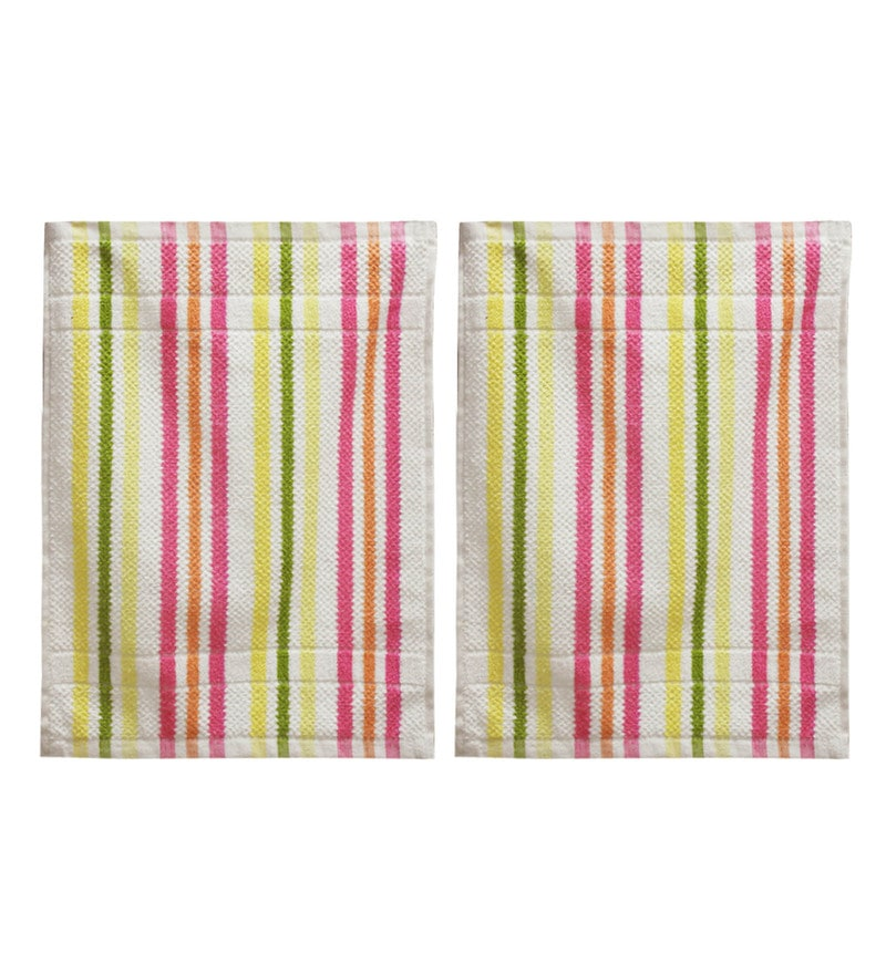 Multicolour Terry Cotton 21 x 14 Inch Hand Towel - Set Of 2 by R Home