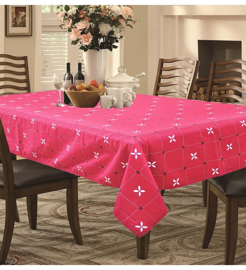 R Home Printed Red Cotton Table Cover