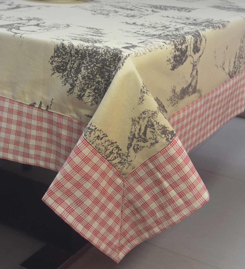 R Home Printed With Border Multicolour Cotton Table Cloth