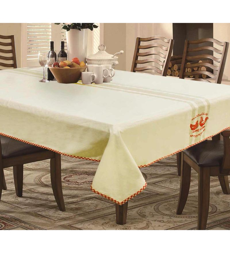R Home Rooster Beige Cotton Table Cloth