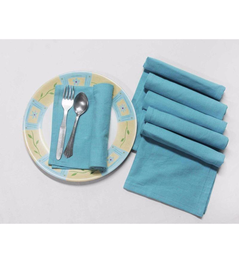 R Home Sky Blue Cotton Table Napkins - Set of 6
