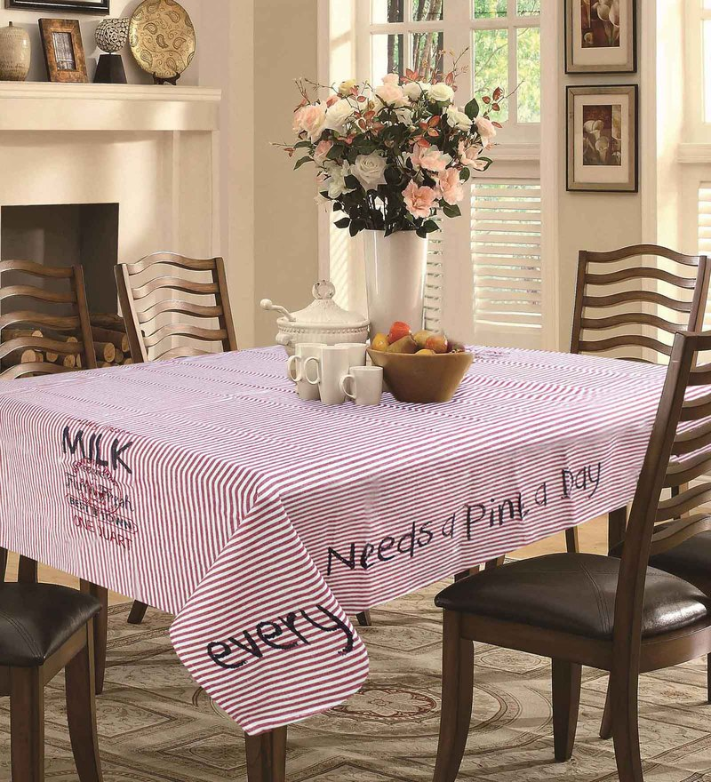 R Home Stripe & Printed Red Cotton Table Cloth