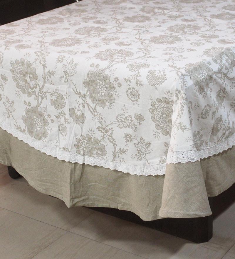 R Home Subtle Beige Cotton Table Cover