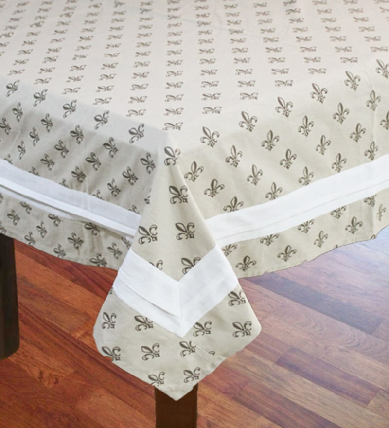 R Home Vintage Print Beige Cotton Table Cover