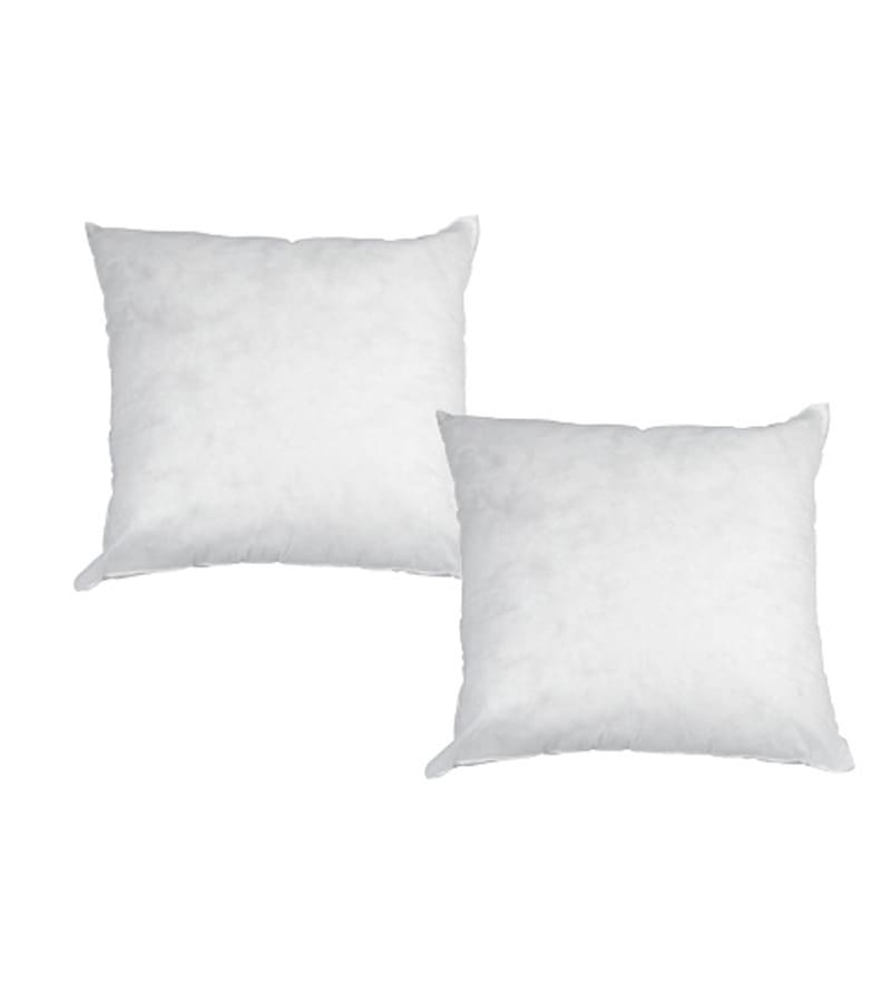 White Polyester 18 x 18 Inch Cushion Inserts - Set of 2 by R Home