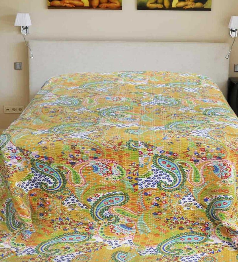 R Home Yellow Cotton 87 x 106 Inch King Size Bed Cover