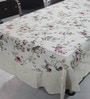 R Home Embroidered Border Beige Cotton Table Cover