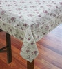 R Home Floral Beige Cotton Table Cover