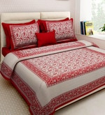 Multicolour Cotton King Size Bedsheet - Set of 3