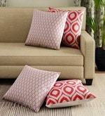 Red Cotton 16 x 16 Inch Handcrafted Accent Cushion Cover - Set of 4