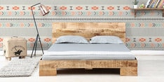 Ramones Queen Size Bed in Natural Finish