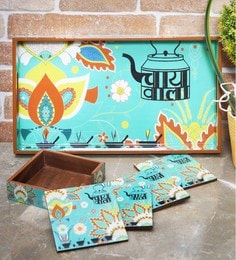 Rangrage Chaiwala Turquoise Blue Mdf Serving Tray With Coasters - Set Of 5 - 1639338