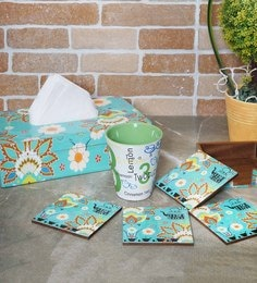 Rangrage Chaiwala Turquoise Blue Mdf Tissue Box Cover With Coasters - Set Of 5