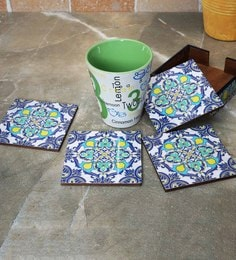 Rangrage Persian Delight Blue Mdf Coasters With Stand - Set Of 5