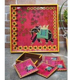 Rangrage Regal Elephant Red Mdf Serving Tray With Coasters - Set Of 5