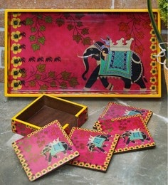 Rangrage Regal Elephant Red Mdf Serving Tray With Coasters - Set Of 5 - 1639336