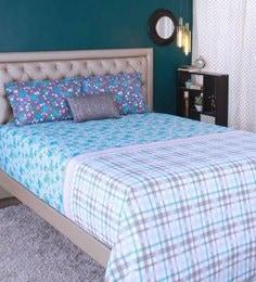Raymond Home Blue 100% Cotton King Size Bedsheet - Set Of 3 - 1583170