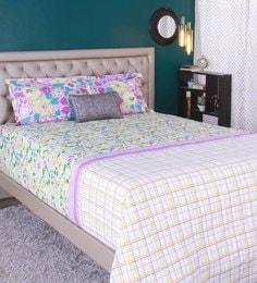Raymond Home Light Green 100% Cotton King Size Bedsheet - Set Of 3 - 1583167