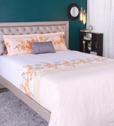 Raymond Home Orange 100% Cotton King Size Bedsheet - Set Of 3