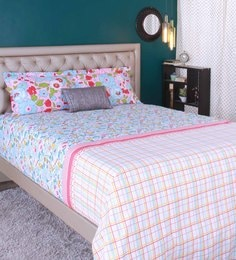 Raymond Home Sky Blue 100% Cotton King Size Bedsheet - Set Of 3