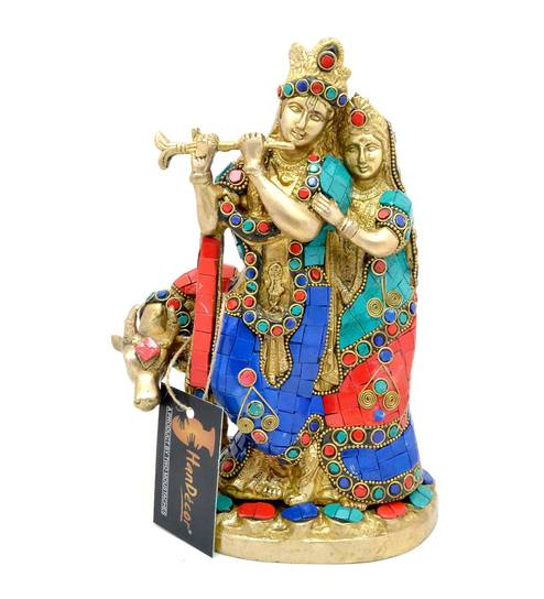 buy radha krishna with cow gemstone showpiece by handecor online
