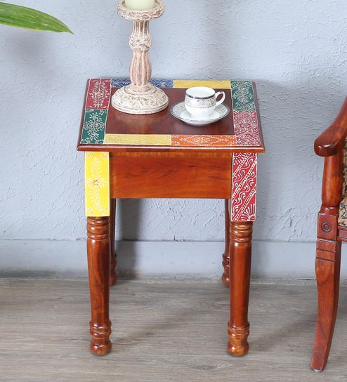 Raga Solid Wood Hand Painted End Table By Mudramark