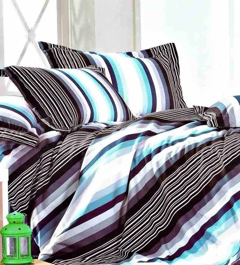 Rago Blue Poly Cotton Striped U0026 Checkered Bed Sheet (with Pillow Covers)    Set