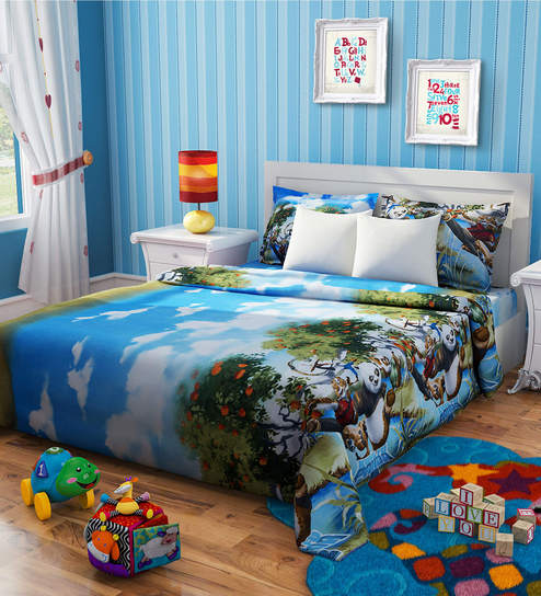 Rago Kids Kung Fu Panda Double Bedsheet In Blue Green With 2 Pillow Covers