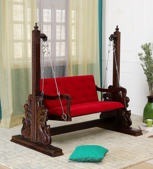 Rahil Solid Wood Swing With Chain In Provincial Teak Finish By Mudramark